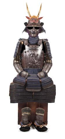 A RUSSET-IRON ARMOR WITH AN UCHIDASHI CUIRASS Helmet by Nagamitsu, 18th century