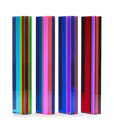 Velizar Vasa (Yugoslavian/American, born 1933) Untitled (Four Columns), 1980 each 20 1/2 x 2 x 4in