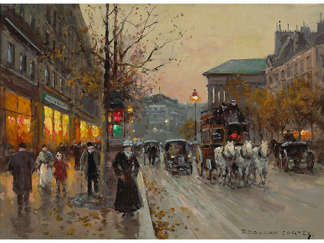 Edouard Léon Cortès (French, 1882-1969) A view of the Boulevard de la Madeleine 13 x 18in (33 x 45.7cm)