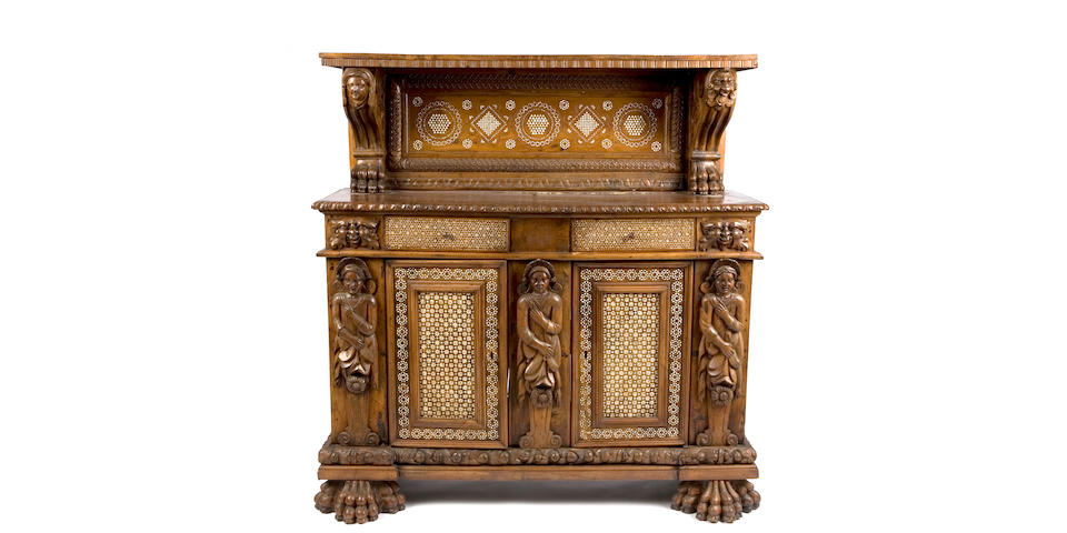 A Spanish Baroque ivory inlaid walnut cabinet