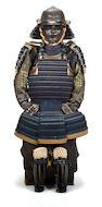 A BLACK-LACQUER ARMOR 18th century, the helmet by Haruta Katsusada