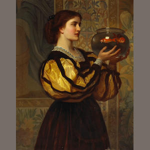 English School Girl with a goldfish bowl 39 1/2 x 31 1/4in (100.4 x 79.3cm)