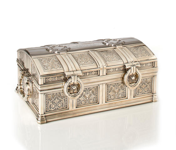 An Important American silver cigar box Manufactured and retailed by Tiffany and Co. New York, New York, 1930 Special Hand Work  The design attributed to Arthur L. Barney