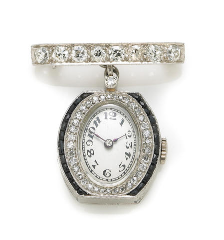 A diamond and sapphire watch-brooch