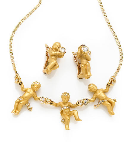 A collection of diamond and eighteen karat gold cherub jewelry, Carrera y Carrera