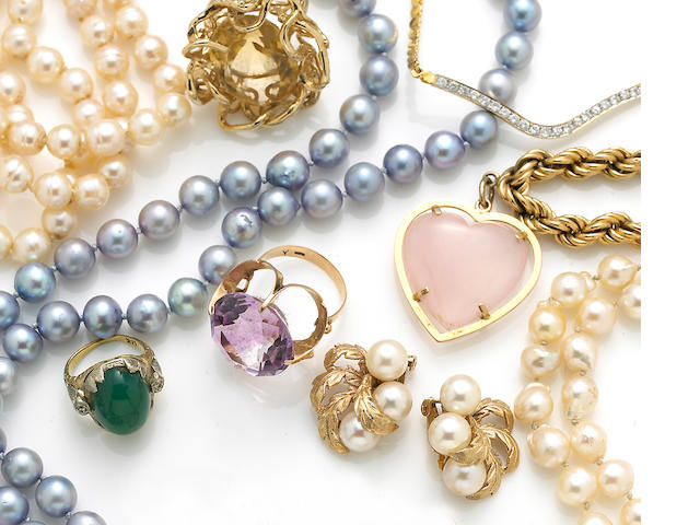 A collection of fourteen jewelry items, including five bracelets, one diamond necklace, one gold necklace, a pair of pearl earrings, three gem-set rings and three pearl necklaces