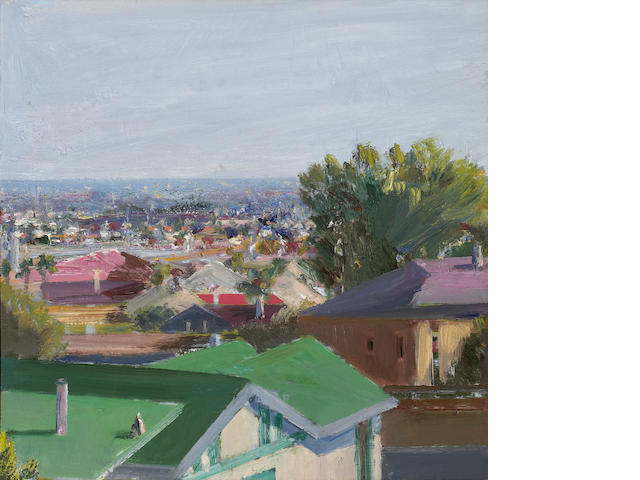 Larry Cohen, View from Scenic Avenue, Hollywood, oil on canvas