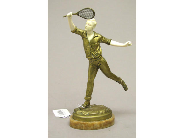 A French bronze and ivory figure of a tennis player after Georges Omerth (French, ?-1925)<br>first quarter 20th century
