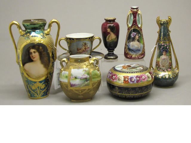 An assembled grouping of decorative ceramics late 19th/early 20th century