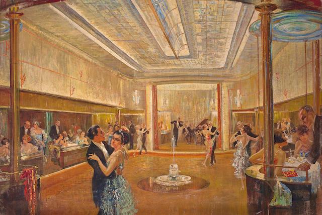 (n/a) Felix Schwarmstädt (German, born 1870) Der Ballraum I. Klasse der Bremen, circa 1928  35.1/2 x 51.1/2 in. (90.2 x 130.8 cm.)