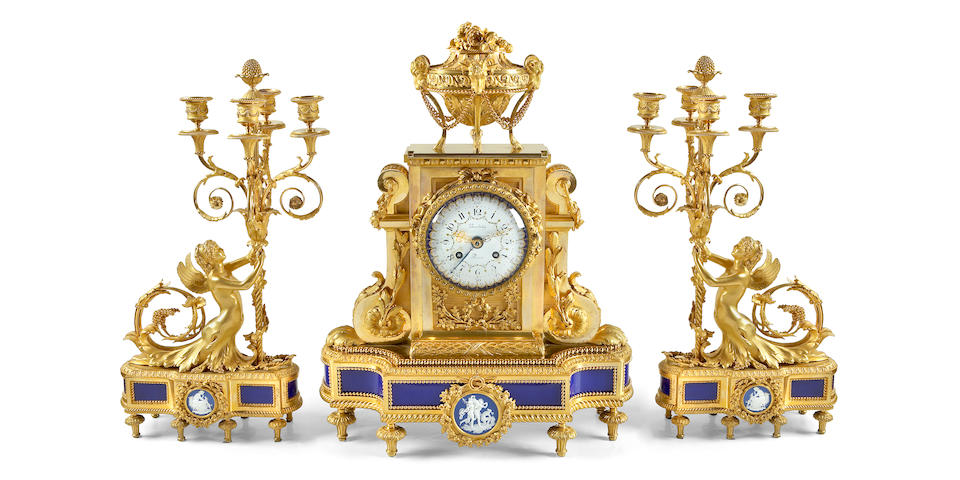 A Louis XVI style gilt bronze porcelain mounted clock garniture set  Beurdeley, Paris last quarter 19th century