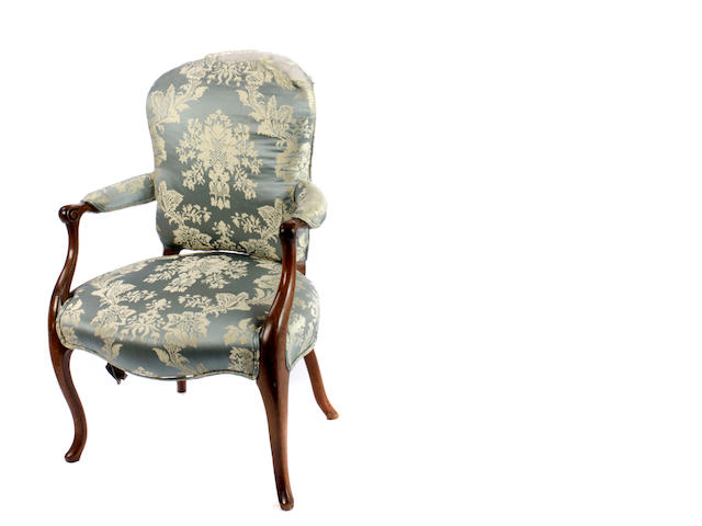 Two Louis XV style mixed wood fauteuils