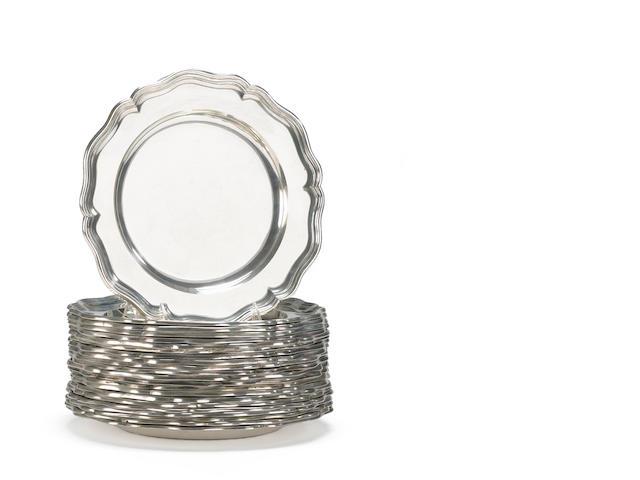 Austrian Silver Assembled Set of Twenty-Two Dinner Plates