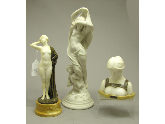 An alabaster and bronze female nude figure and bust, and a cast marble allegorical figure first quarter 20th century