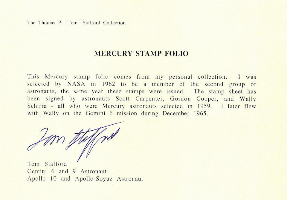 TOM STAFFORD'S MERCURY STAMP SHEET—SIGNED.