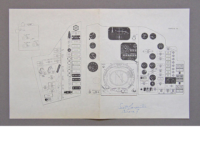 "CAPSULE 18 ""AURORA 7"" INSTRUMENT PANEL DIAGRAM."