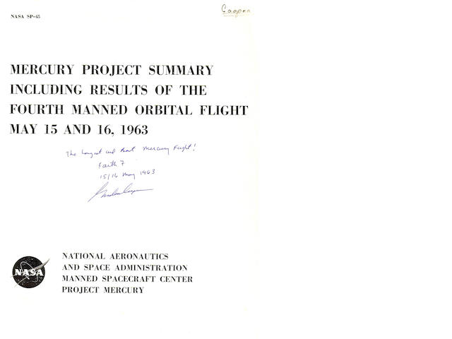 COOPER'S ORBITAL FLIGHT REPORT.
