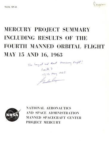 COOPER'S ORBITAL FLIGHT REPORT.