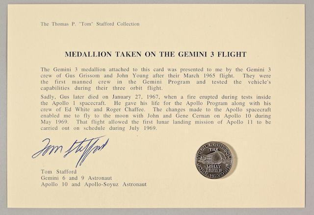 TOM STAFFORD'S MEDALLION CARRIED ON GEMINI 3.
