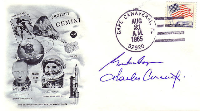 GEMINI 5 LAUNCH COVER—CREW SIGNED.