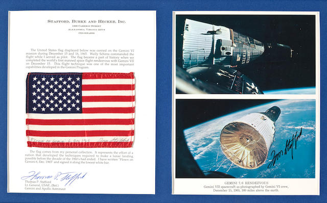 UNITED STATES FLAG CARRIED ON GEMINI 6.