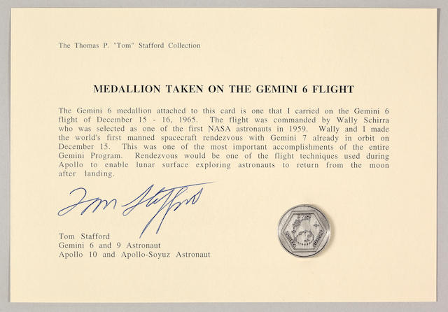 STAFFORD'S MEDALLION CARRIED ON GEMINI 6.