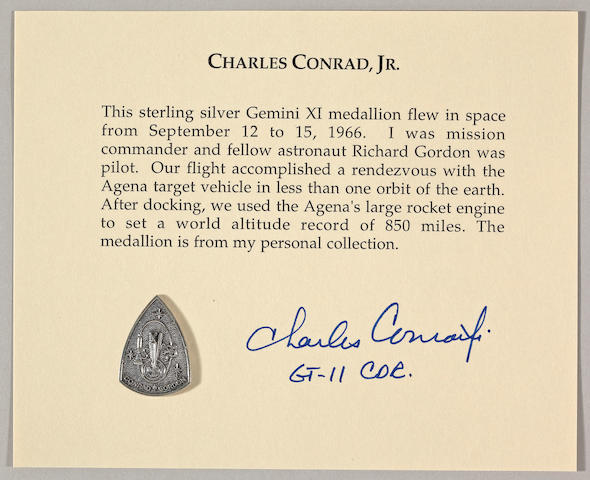 CHARLES CONRAD'S MEDALLION CARRIED ON GEMINI XI.