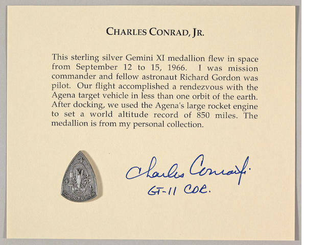 MEDALLION CARRIED ON GEMINI XI.