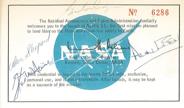 APOLLO 11 PRESS KIT WITH SIGNED PASS.