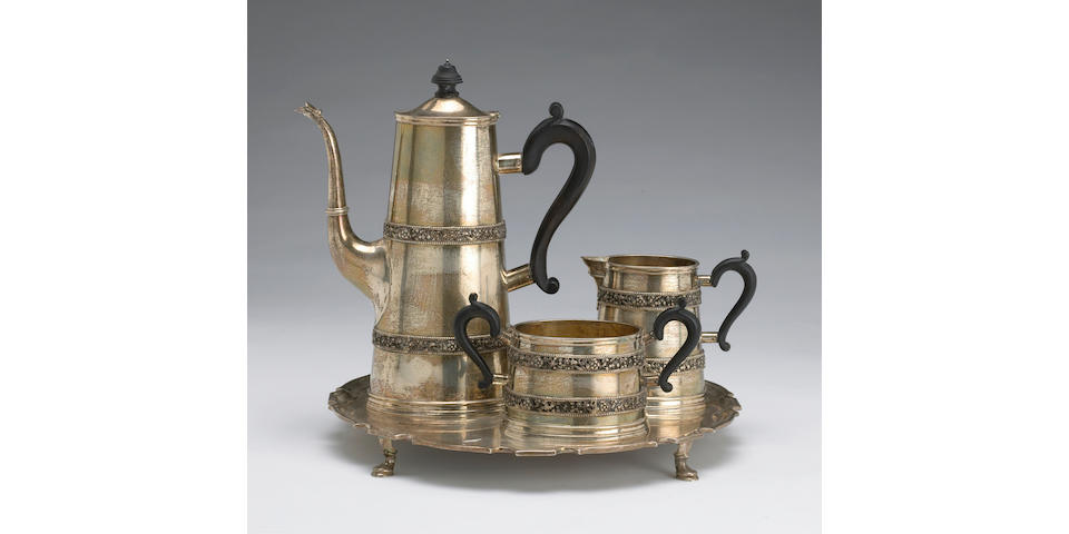 Sterling Hand Made Sterling Three Piece Coffee Set with Wooden Fittings and Complementary Salver, All by William B. Meyers Co.