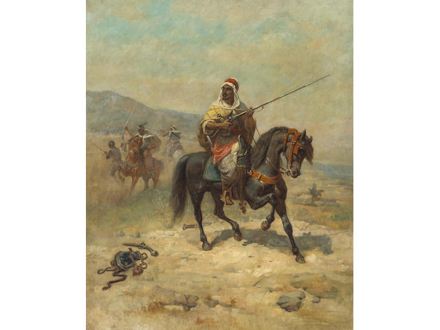 Circle of Adolf Schreyer (German, 1828-1899) An Arab raiding party 39 1/2 x 32in