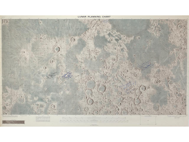 LARGE LUNAR CHART – INSCRIBED BY SURFACE EXPLORERS.