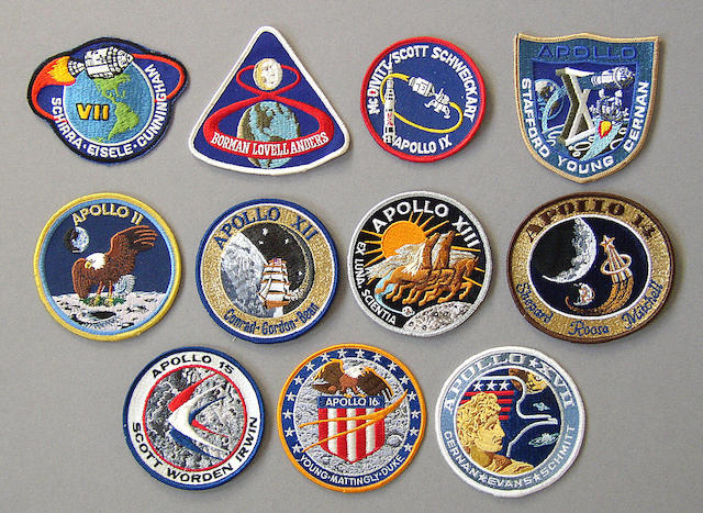 APOLLO 7 THROUGH 17 LION BROTHERS CREW EMBLEMS.