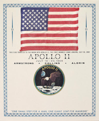 UNITED STATES FLAG CARRIED ON APOLLO 11.