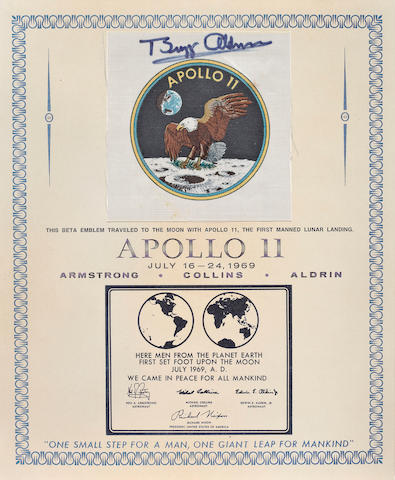 BETA CLOTH EMBLEM CARRIED ON APOLLO 11.
