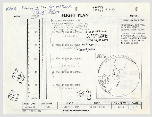 FLOWN APOLLO 11 FLIGHT PLAN SHEET—THE FIRST CELESTIAL CALIBRATION MEASUREMENTS TAKEN DURING THE FLIGHT.
