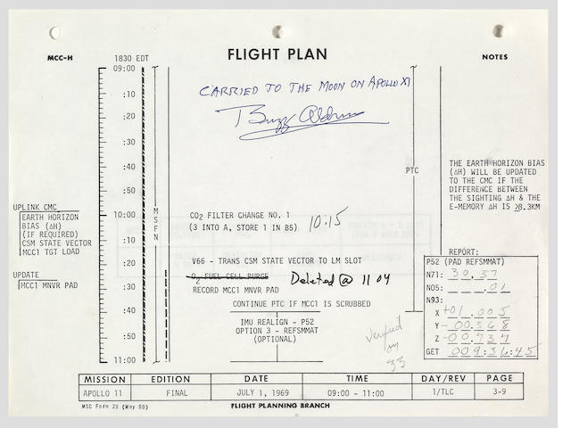 FLOWN APOLLO 11 FLIGHT PLAN SHEET—SOME OF THE FIRST WORDS WRITTEN BY ARMSTRONG IN THE FLIGHT PLAN.