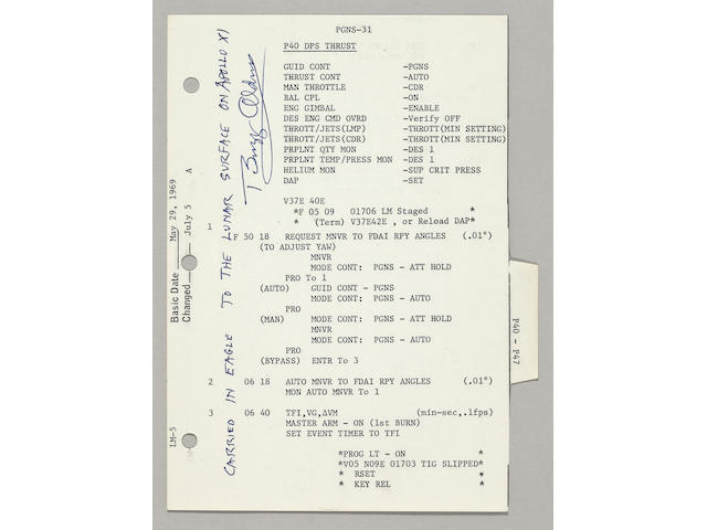 FLOWN APOLLO 11 LM G & N DICTIONARY SHEET—THE STEPS ENABLING THE START OF EAGLE'S ENGINE TO BEGIN THE LANDING.