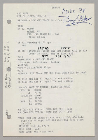 FLOWN APOLLO 11 LUNAR SURFACE CHECKLIST SHEET—NOTATIONS RECORDED WHILE ON THE MOON.