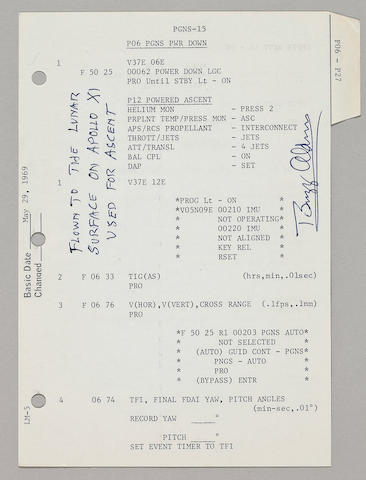 FLOWN APOLLO 11 LM G & N DICTIONARY SHEET - THE STEPS TO ENABLE EAGLE TO LEAVE THE MOON, WITH LUNAR EXPERIENCE LETTER BY ALDRIN.