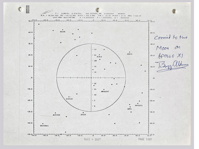 FLOWN APOLLO 11 FLIGHT PLAN SHEET—A STAR CHART USED DURING THE FLIGHT.