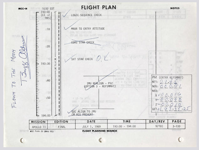 FLOWN APOLLO 11 FLIGHT PLAN SHEET—THE LAST DETAILED NOTES BY NEIL ARMSTRONG DURING THE MISSION.