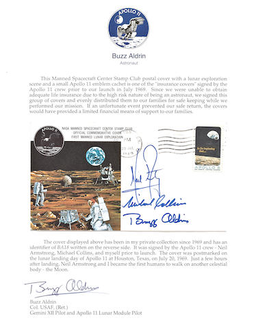 LIFE INSURANCE FOR THE APOLLO 11—A CREW-SIGNED POSTAL COVER.