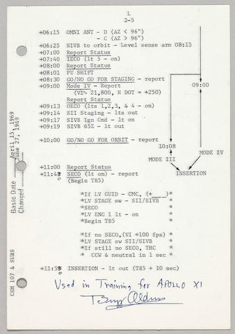 ARMSTRONG-USED LAUNCH CHECK LIST TRAINING SHEET.