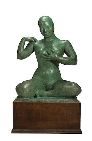 Dora Gordine - Seated nude with hand on chest ** ON INSPECTION **