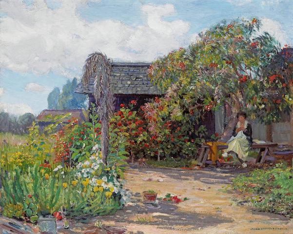 (n/a) Joseph Kleitsch (1885-1931) Woman in a garden sewing 24 x 30in