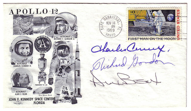 APOLLO 12 LAUNCH COVER—CREW SIGNED.