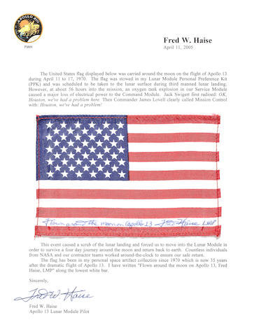 SYMBOL OF A UNITED EFFORT—US FLAG CARRIED ON APOLLO 13.