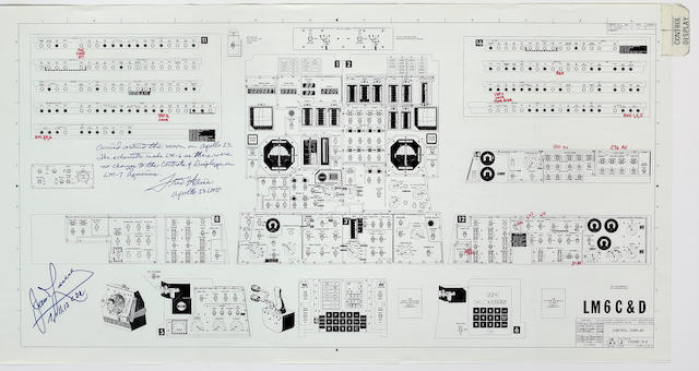FLOWN LM FLIGHT CONTROL PANEL DIAGRAM SIGNED BY LOVELL AND HAISE.