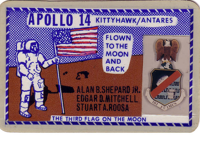 MINIATURE IBI FUIMUS (THERE, WE SHALL BE) EMBLEM CARRIED ON APOLLO 14.